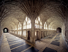 Fan vaulted cloisters, Gloucester Cathedral, Gloucestershire, England, UK 14th century - 37573-40-1