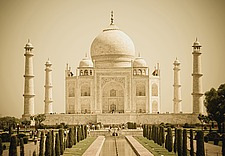 Wide angle shot of the Taj Mahal in sepia tone, Agra, India - 31111-20-1