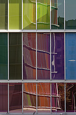 Coloured glass panels with reflections at Contemporary Art Museum - Museo de Arte Contemporaneo - MUSAC, Leon, Castilla y Leon, Spain - 30638-70-1