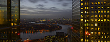 London panorama from Citigroup Tower at dusk with lights in windows towards the River Thames - 11324-30-1
