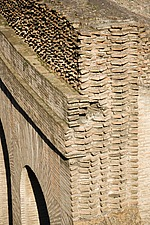 Layers of Roman brickwork, at the Colosseum, Rome, Italy - 12035-60-1