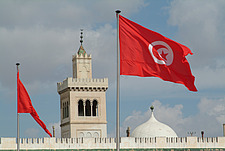 Mosque roof and National Flag, Tunis - 10644-110-1