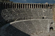 Steps, seating and arches at   the Roman Amphitheatre, Aspendos - 10644-160-1