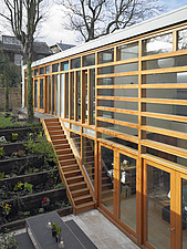 Elevated view of terraced sunken garden in house designed by Studio Bednskari in South Kensington, London, UK - 12523-20-1