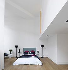 Bedroom of  apartment in converted Royal Mail Sorting Office, London, UK - 12499-110-1