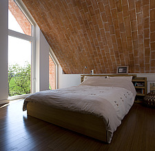 Bedroom with brick vaulted ceiling, zero carbon house,  - 12552-290-1