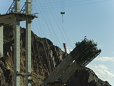 Construction workers on the Hoover Dam bridge, Arizona side - 12598-130-1