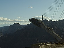 Construction of the new Hoover Dam bridge, Navada side - 12598-300-1