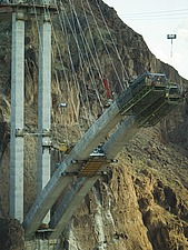 Construction workers on the Arizona side of the new Hoover Dam bridge - 12598-400-1