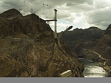 Construction of new Hoover bridge, Arizona side from Hoover Dam, Grand Canyon and Colarodo river - 12598-470-1