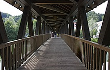 Wooden bridge over River Loisach, Wolfratshausen, Bavaria - 12723-300-1