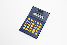 Blue calculator with yellow buttons - 12529-390-1