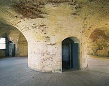 The central brick pier on the first floor of the Keep, Hurst Castle, Portsmouth, Hampshire - 32212-10-1