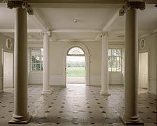 The Hall, Palladian mannerism style with four columns, Marble Hill House, Twickenham, Surrey, UK - 32244-60-1
