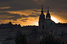 View of St Nicholas Church at sunset, Prague, Czech Republic - 12885-110-1