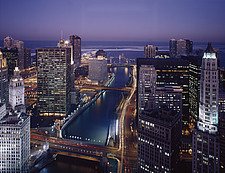 Chicago  River and central business skyline at night - 70005-50-1