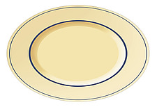 Illustration  ariel view of  traditional oval platter - 80001-170-1