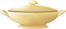 Illustration of traditional shaped vegetable dish with handles and lid - 80001-180-1