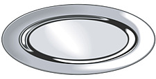 Illustration of  ariel view of  oval metallic  fish platter - 80001-190-1