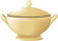Illustration of traditional soup tureen with lid and handles - 80001-240-1