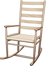 illustraton wooden ladder-back rocking chair with arms - 80005-150-1