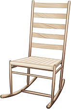 illustraton wooden ladder-back rocking chair - 80005-210-1