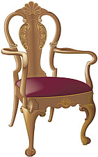 illustraton wooden armed chair with cabriole legs with scroll feet and acanthus leaf and cockle shell carved decoration - 80005-50-1