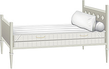 illustraton wooden single bed with headboard, footboard, mattress, bloster and pillow - 80006-10-1