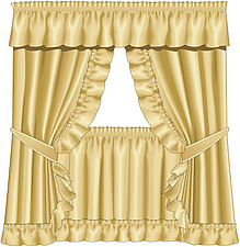 illustraton  curtains with pelmet, tiebacks and cafe curtains - 80006-110-1