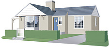 Illustration detached bungalow one-storey house - 80013-150-1