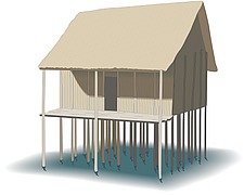 Illustration traditional house on stilts - 80013-70-1