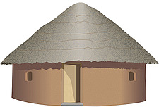 Illustration traditional mud hut with straw roof - 80013-80-1