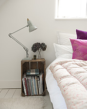 Bed and bedside table with lamp, Orchard Cottage - 12996-60-1