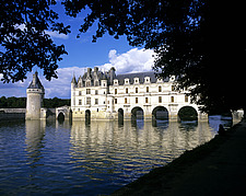 Chenonceau Castle, Loire, view of chateau through trees - 11004-60-1