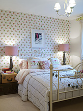 Matching lamps at bedside in showhome of new housing development in Uckfield for joint venture between Linden Homes and Wates Developments, UK - 13048-90-1