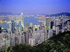 Hong Kong, Hong Kong Island, view on town and harbour from Victoria Peak,  - 13089-230-1