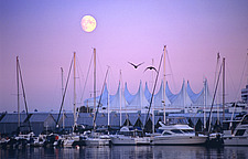 British Columbia, Vancouver, full moon over Coal Harbour marina and Canada Place,  - 13165-190-1