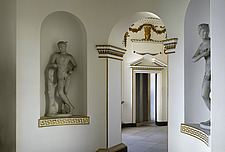 Classical statues in  niches in Apse , Gallery, Chiswick House, Chiswick, London - 13158-60-1