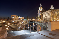 Dusk at The Liver Building and new Ferry Terminal Building, a new branch of the Beatles Story Museum at the The Canal Link, Pier Head in Liverpool, Me... - 13238-50-1