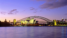 New South Wales, Sydney, Opera House and Harbour Bridge after sunset - 13245-420-1