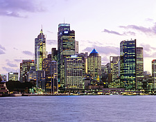 New South Wales, Sydney,  nocturnal view on downtown skyline and Circular Quay, - 13245-450-1