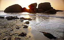 Bretagne, sunset, sea and rocks on the beach at Perros-Guirec,  - 13246-90-1