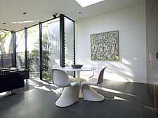 Verner Panton table and chairs in modern open plan dining room, Prahran East House, Melbourne, Victoria - 13257-100-1