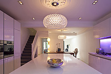 Highbury contemporary house conversion, Interior image of kitchen with purple lighting - 13453-90-1