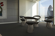 Warren Platner chairs and table in corner of office with view of the Gherkin, London, - 13533-100-1