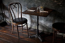 Traditional wooden chair at table in caf - 13569-30-1