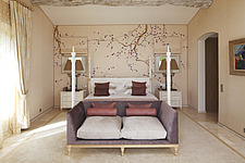Bedroom decorated with cherry blossom mural with four poster be  - 13651-30-1