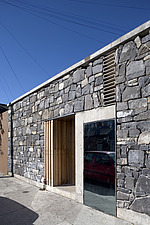 Double House, Dublin,  Wooden door recessed in stone and concrete lintel over tall window - 11415-40-1
