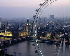 Millennium Eye and Palace of Westminster with river Thames, London, UK - 13220-210-1