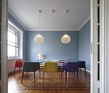 Various coloured chairs and table in modern dining room, Italy - 13729-20-1